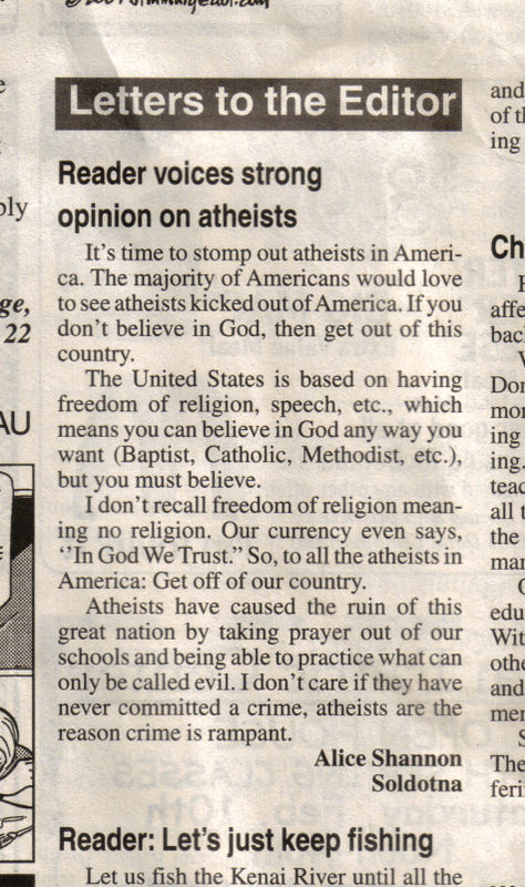 atheists Atheists: Get off of our country!