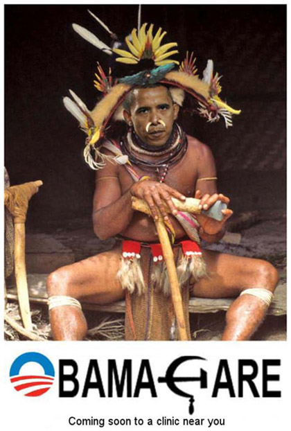Barack Obama health care racist photo