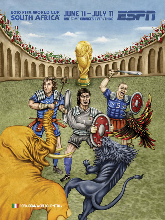 Italy As Gladiators World Cup ESPN Painting