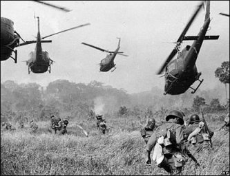 Vietnam War Helicopters and Soldiers