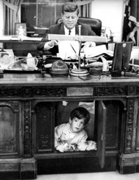 JFK and Son Under White House Desk