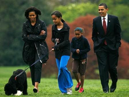 The Obamas Walk The Family Dog
