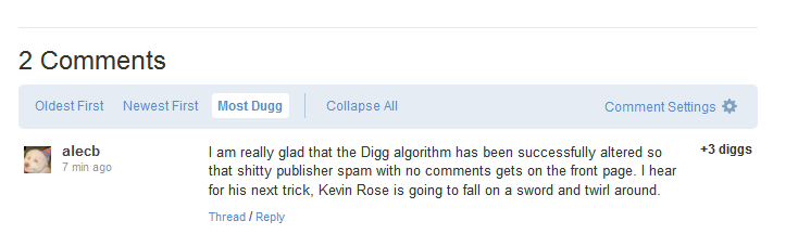 Digg Disappearing Comments