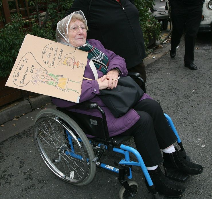 French Woman Protests Against Pensions