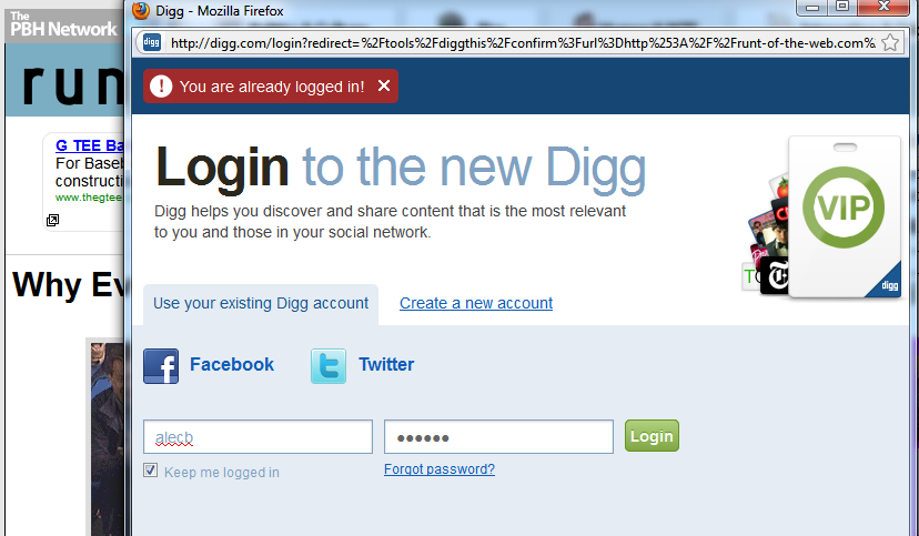 Digg From Page Log In Error