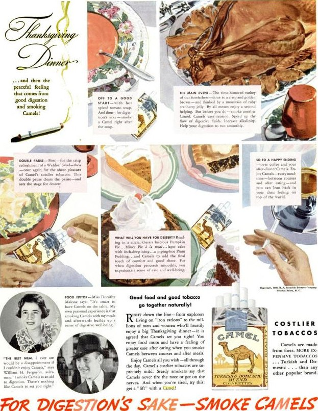 Camel Cigarettes Cure Digestion Advertisement for Thanksgiving