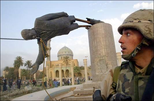 Toppled Saddam Statue