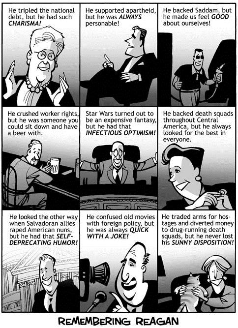 Remembering Ronald Reagan Political Cartoon