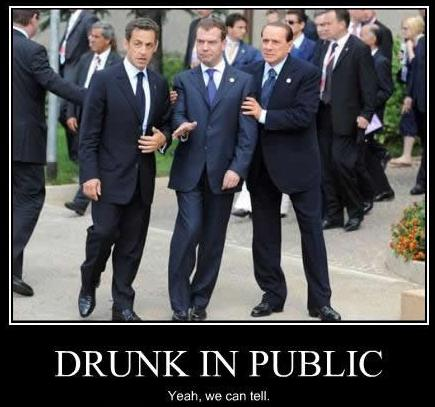 French President Sarkozy Italian President Berlusconi and Russian PM Medvedev Drunk In Public