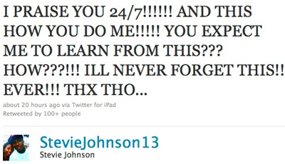 Steve Johnson Renounces God on Twitter