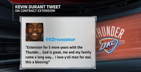 Kevin Durant Tweets Staying With OKC