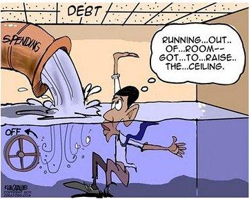 Barack Obama Drowning In Debt Cartoon