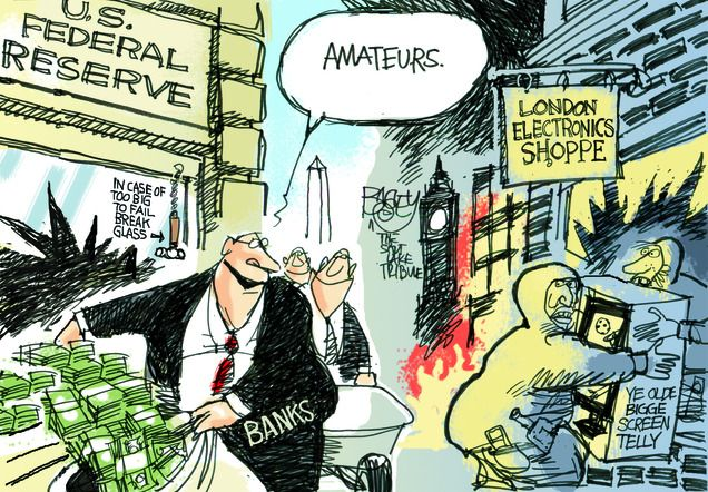 Rioters Versus Bankers Political Cartoon