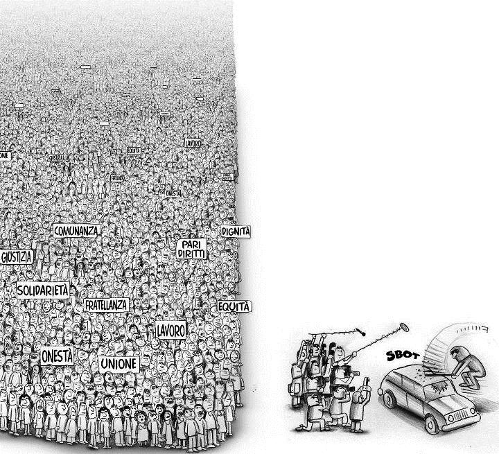 How The Media Treats Liberal Activism Political Cartoon