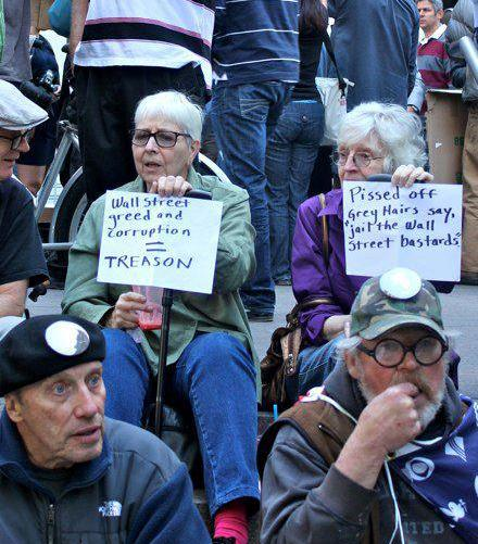 Occupy Wall Street Grey Hairs Against Corporate Greed