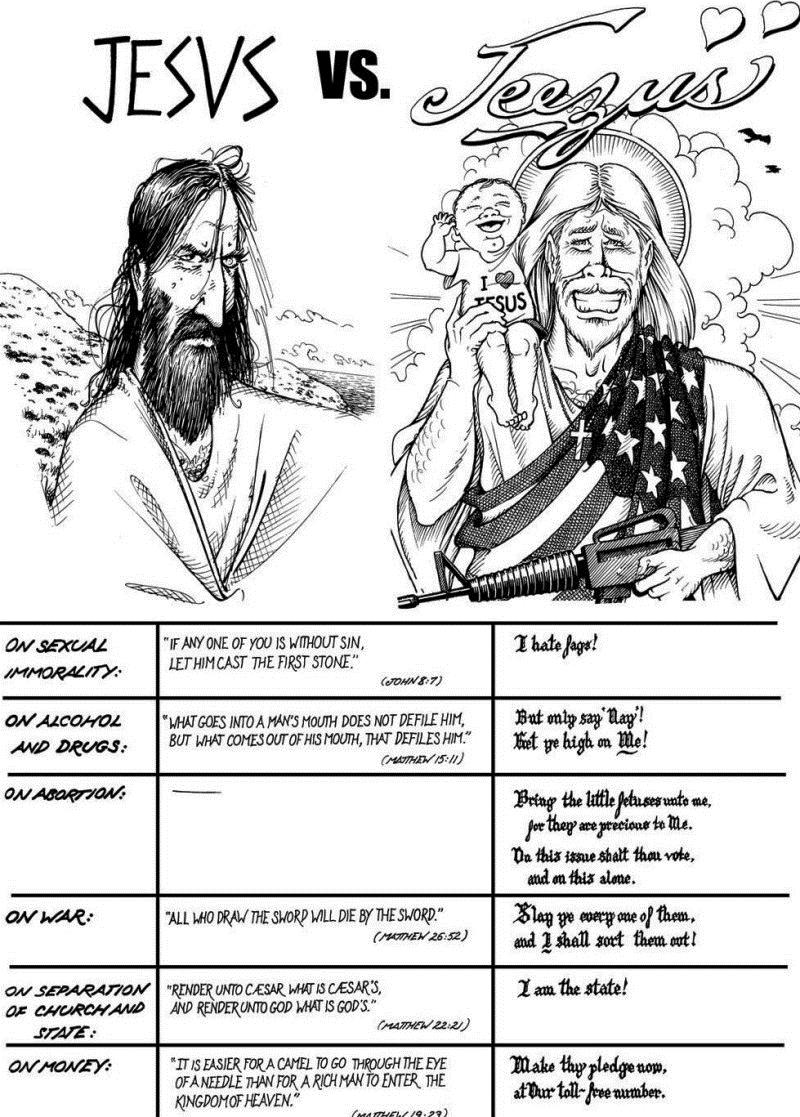 Real Jesus Versus Republican Jesus Comic