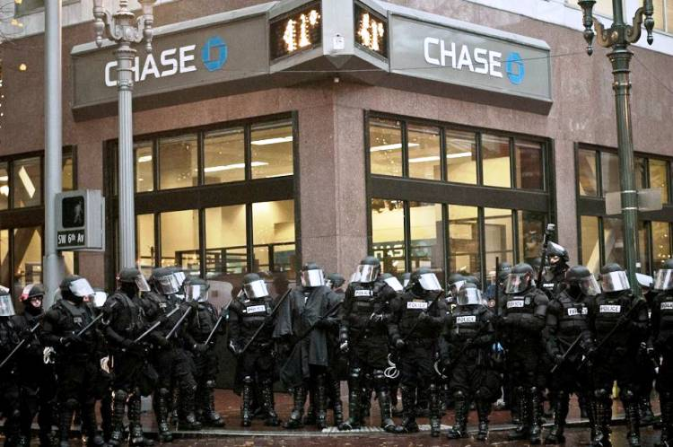 Welcome To America - Police Protect Chase Bank Photograph