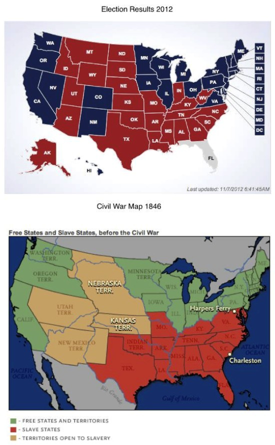 A Comparison Of Slave States And The 2012 Election Map