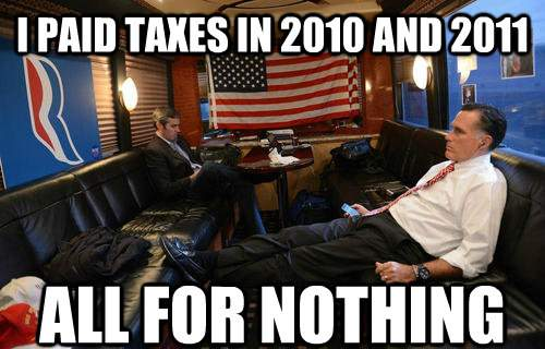 Mournful Mitt Romney Meme Paid Taxes For Nothing