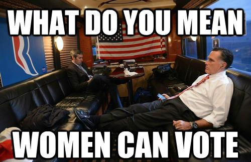 Mournful Mitt Romney Meme Woman Can Vote