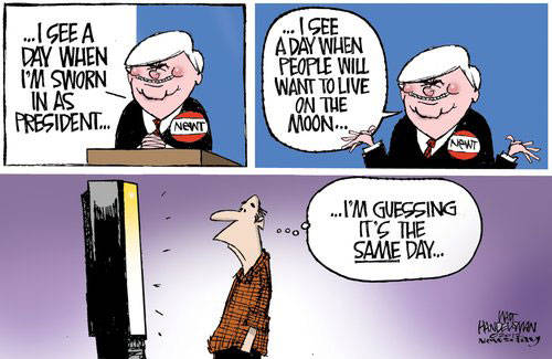 Best Political Cartoons 2012 Newt Moon