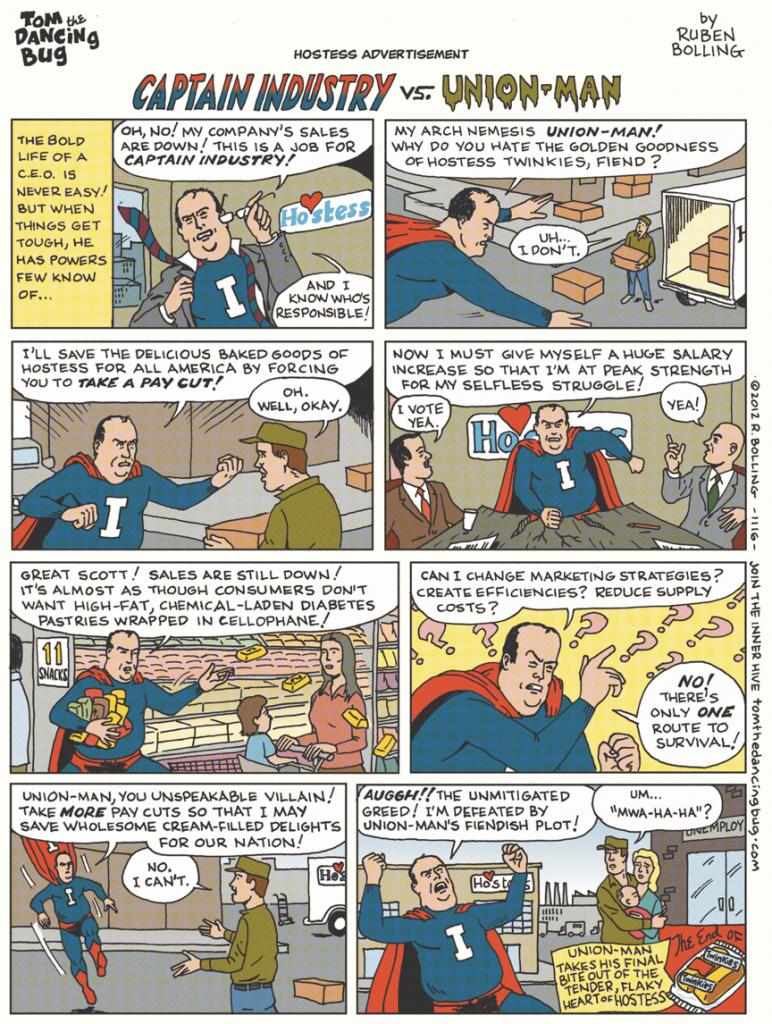 Captain Industry Versus Union Man Cartoon