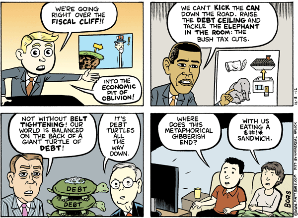 Matt Bors Cartoons Fiscal Cliff Metaphor