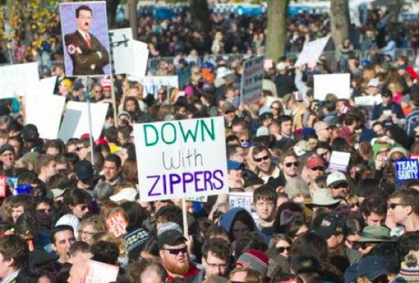 hilarious protest signs down with zippers The Most Hilarious Protest Signs Ever