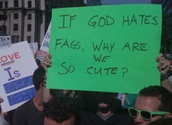 hilarious protest signs gay cute The Most Hilarious Protest Signs Ever