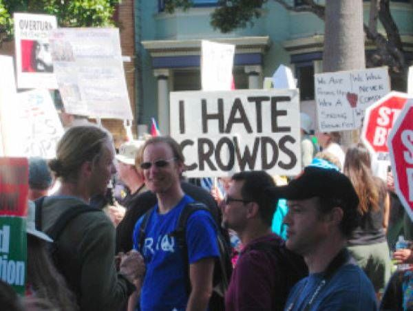 I Hate Crowds Protest Sign