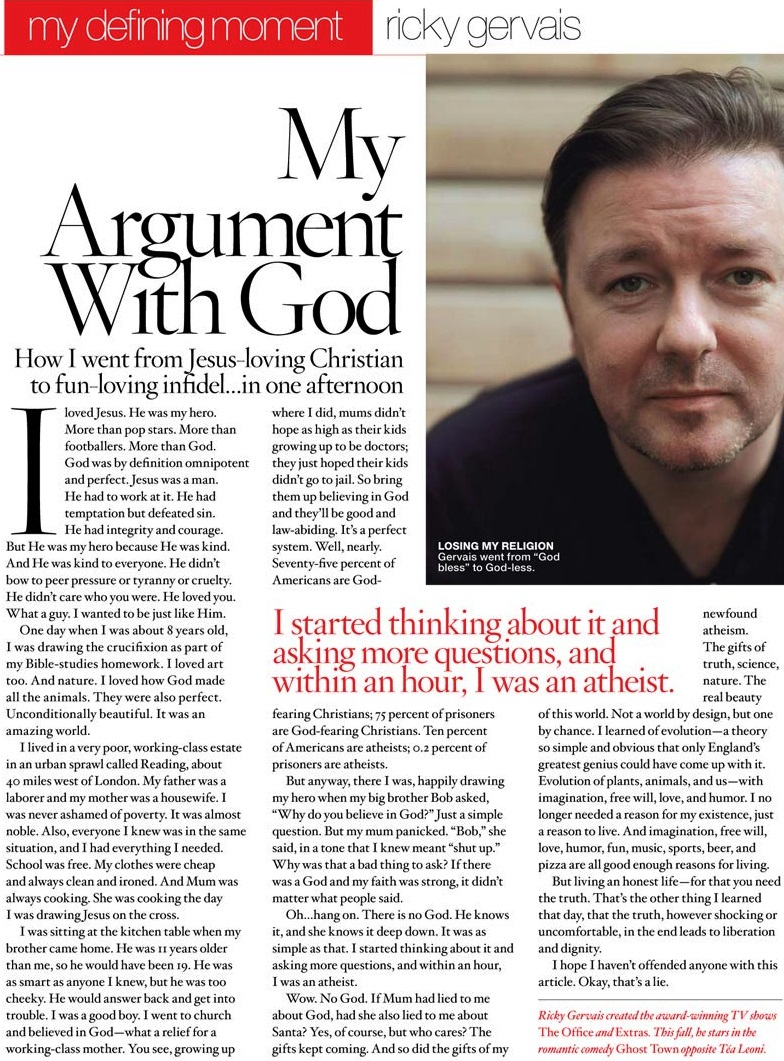 Ricky Gervais My Argument With God Article
