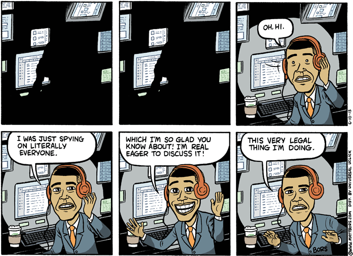 2013 Political Cartoons Obama NSA