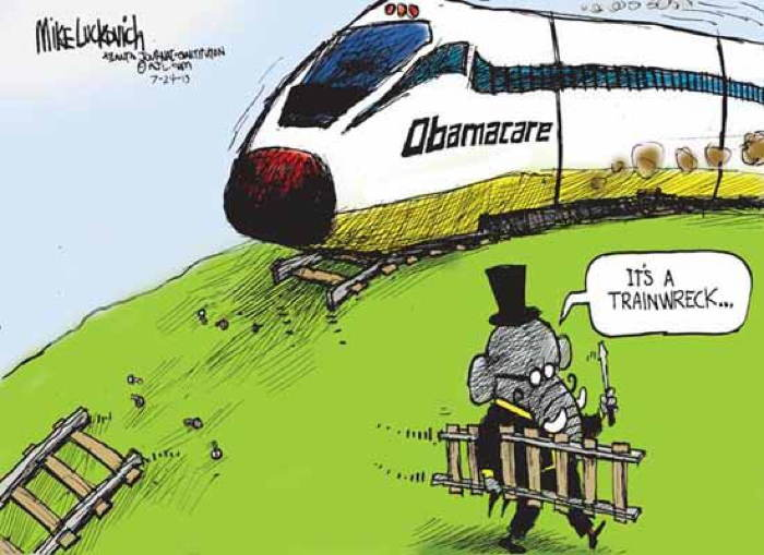 2013 Political Cartoons Obamacare Trainwreck