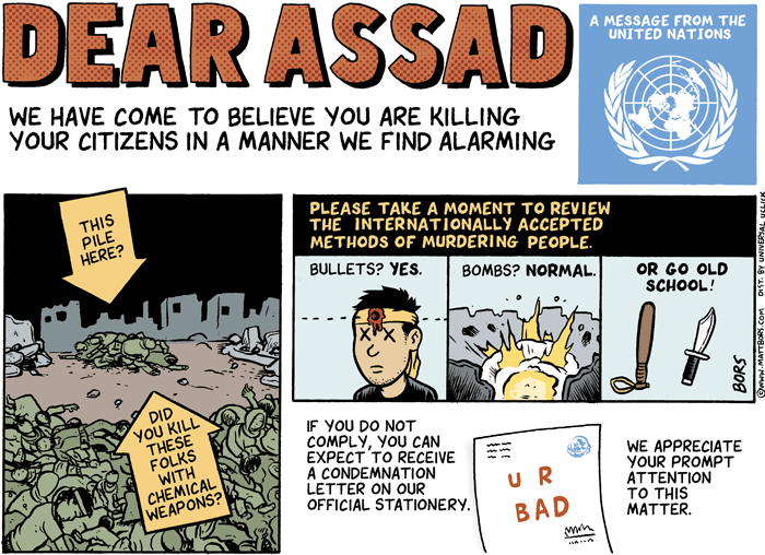 2013 Political Cartoons UN Assad