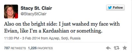 Sochi Tweets Kardashian