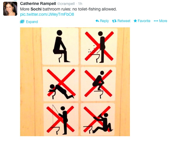 Sochi Tweets Toilet Fishing