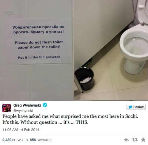 Sochi Tweets Toilet Paper