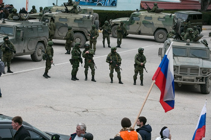 Crimea Occupation Flag Soldiers