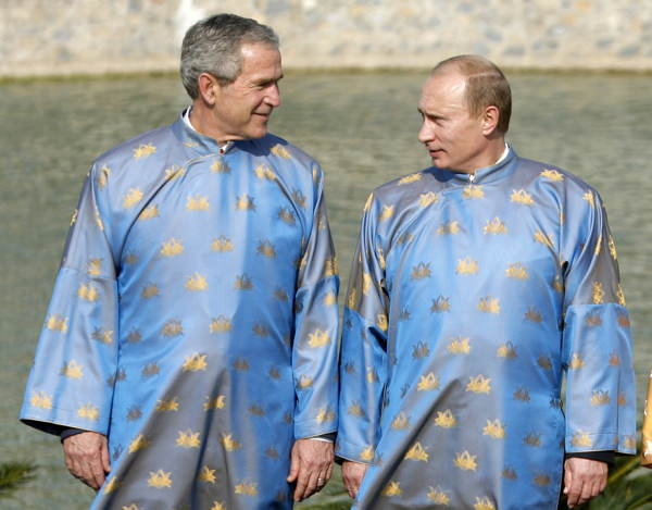 Putin Bush Blue Gowns