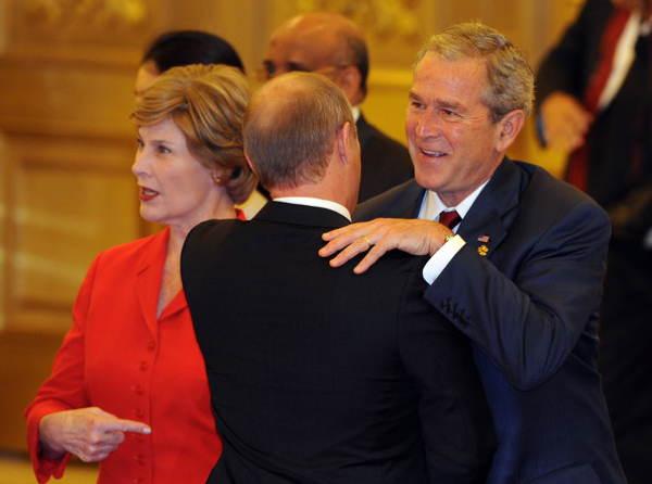 Putin Bush Hug