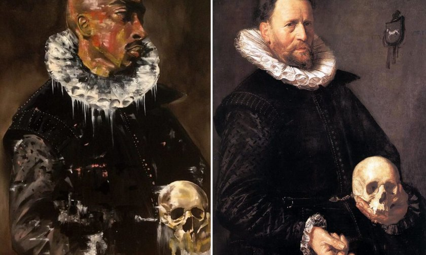 Tupac Portrait Of Man Holding Skull